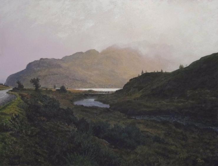 Rodger Insh, 'Burst of Light, Kerryside (Gairloch). Suilven', 2015. 32.1 x 23.9 cm, gouache. ©Rodger Insh